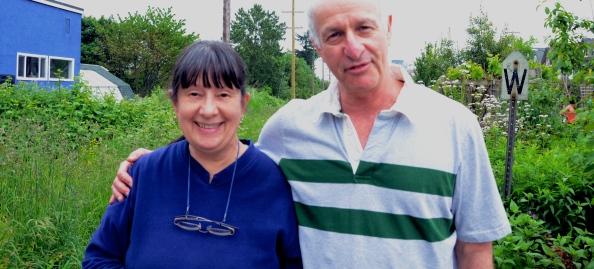 Head gardener Sharon alongside Executive Director of City Farmer Michael Levenston